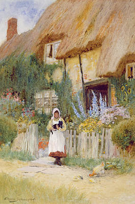 By The Cottage Gate  Print by Arthur Claude Strachan
