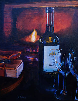 Virginia Wine Painting - By The Fire by Donna Tuten