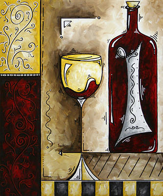 Wine Painting - By The Fireside Original Madart Painting by Megan Duncanson