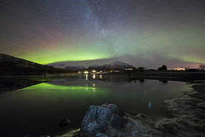 Aurora Photograph - By The Frozen Pond by Frank Olsen