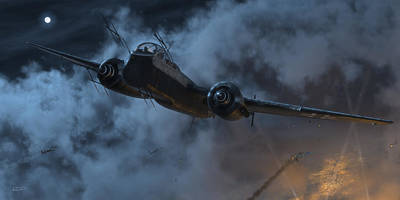 Wwi Digital Art - Nightfighter by Robert Perry