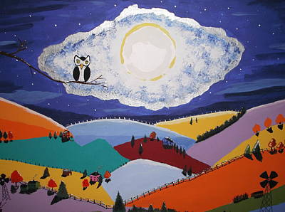 Stary Sky Painting - By The Light Of The Silver Moon by Lois D  Psutka
