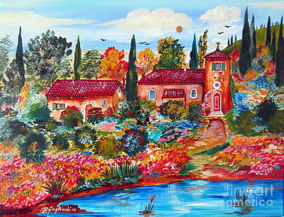 Italy Farmhouse Painting - By The Pond by Roberto Gagliardi
