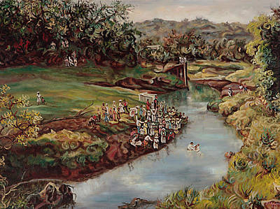 Jamaican Art Painting - By The River by Ewan  McAnuff