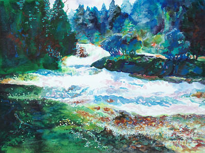 White Water Rafting Painting - By The Rushing Waters by Kathy Braud