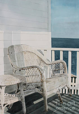 Wicker Chair Painting - By The Sea by Monte Toon