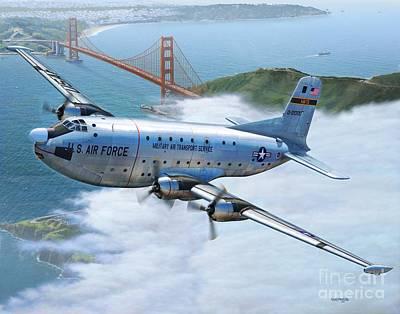 Golden Digital Art - C-124 Shakey Over The Golden Gate by Stu Shepherd