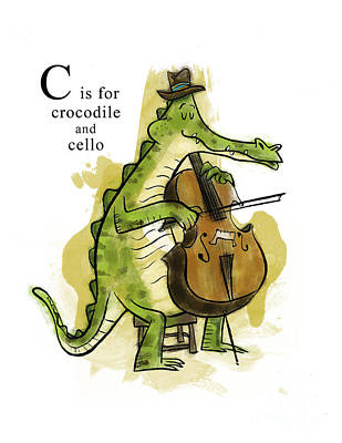 Crocodile Mixed Media - C Is For Crocodile by Sean Hagan