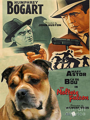 Maltese Painting - Ca De Bou - Majorca Mastiff Art Canvas Print - The Maltese Falcon Movie Poster by Sandra Sij