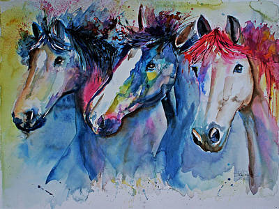 Race Horse Drawing - Caballos by Isabel Salvador