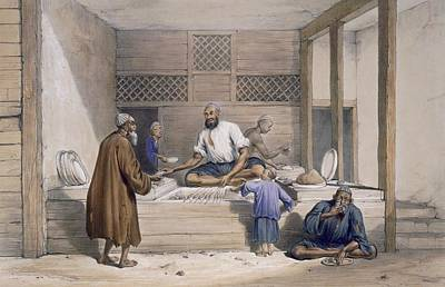 Street Drawing - Cabaub Shop, Cabul, 1843 by James Atkinson