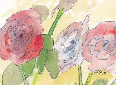 Cabbage Drawing - Cabbage Roses by Janel Bragg