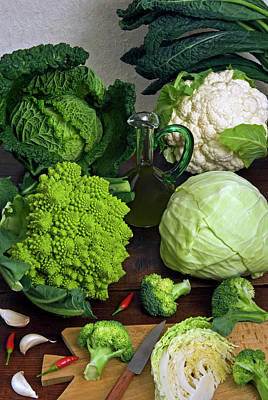 Brassica Oleracea Photograph - Cabbages -clockwise- Broccoli by Nico Tondini