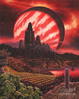 Astronomical Painting - Cabernet Wine Country Fantasy by Stu Shepherd