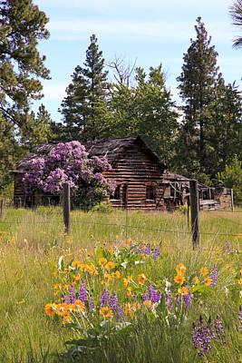 Cabin And Wildflowers Print by Athena Mckinzie