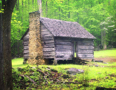 Cabin In The Smokies Print by Marty Koch