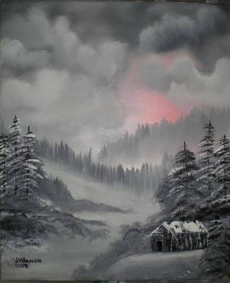 Bob Ross Painting - Cabin In The Winter Forset by James Waligora