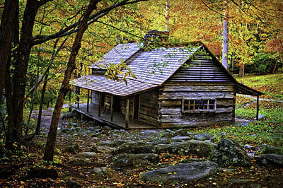 Cabin In The Woods Print by Lawrence Golla