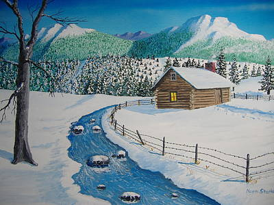 Snowscape Painting - Cabin In The Woods by Norm Starks