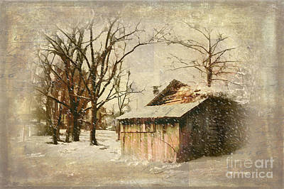 Cabin Interiors Painting - Cabin In Winter Snow by Dan Carmichael