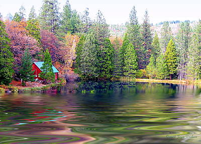 Scenic Photograph - Cabin On The Lake by Joyce Dickens