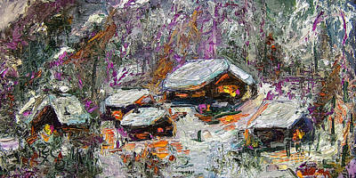 Cabins In The Snow Modern Expressionism Print by Ginette Callaway