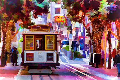 Union Square Digital Art - Cable Car At The Powell Street Turnaround by Bill Gallagher
