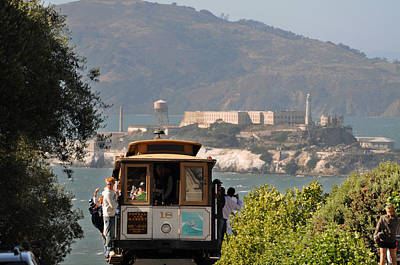 Brakeman Photograph - Cable Car Going Down A Steep San Francisco Hill by Scott Lenhart