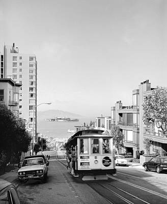 Alcatraz Photograph - Cable Car On Hyde Street Hill by Underwood Archives