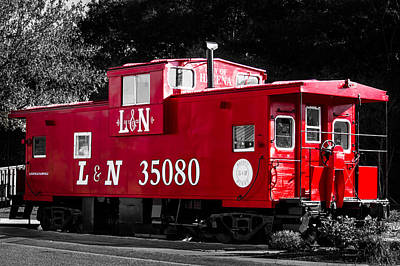Train Photograph - Caboose by Shelby  Young