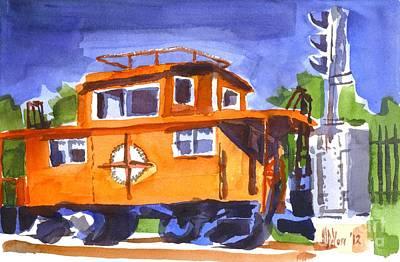 Caboose With Silver Signal Original by Kip DeVore