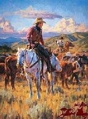 Cattle Drive Digital Art - Cache Valley Round Up Paper by Jason Rich