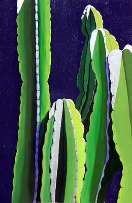 Silver Moonlight Painting - Cactus In The Desert Moonlight by Karyn Robinson