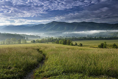 Fog Photograph - Cades Cove Meadow by Andrew Soundarajan