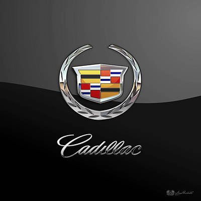 Cadillac - 3d Badge On Black Print by Serge Averbukh