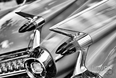 Cadillac Bullet Tail Lights Monochrome Print by Tim Gainey