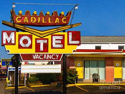 Wingsdomain Digital Art - Cadillac Motel 20130307 by Wingsdomain Art and Photography