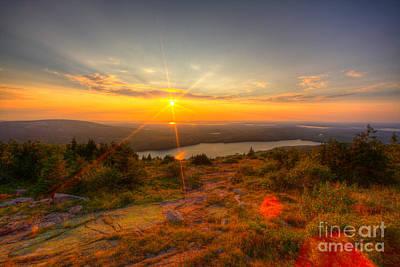 Cadillac Mountain Sunset Acadia National Park Bar Harbor Maine Print by Wayne Moran