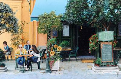 Daily Life Photograph - Cafe, Aix-en-provence, 1999 Oil On Canvas by Trevor Neal