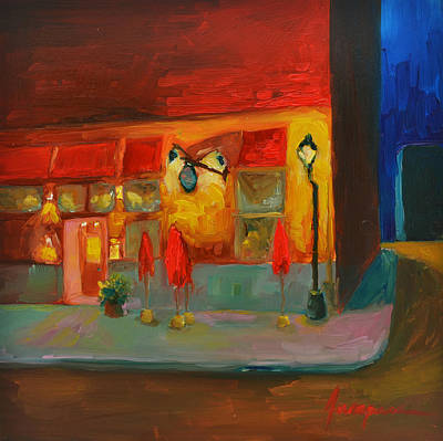 Corner Cafe Painting - Cafe At Night by Patricia Awapara