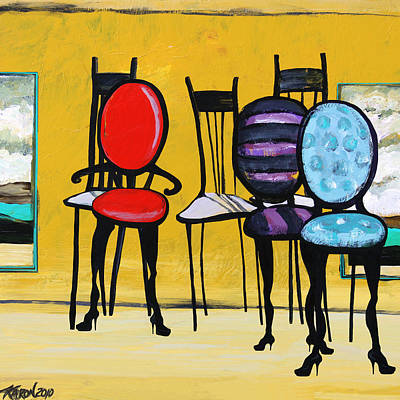 Kitchen Chair Painting - Cafe Chairs by Karon Melillo DeVega