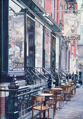 Brick Buildings Painting - Cafe Della Pace East 7th Street New York City by Anthony Butera