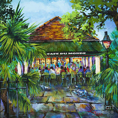 City Street Scene Painting - Cafe Du Monde Morning by Dianne Parks