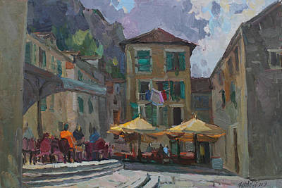 Montenegro Painting - Cafe In Old City by Juliya Zhukova