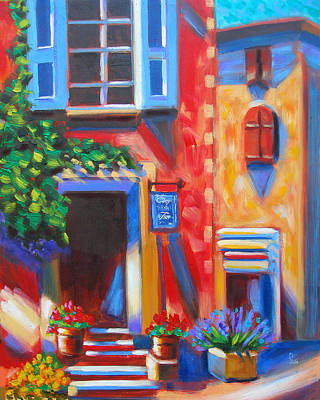 Cafe In Roussillon France  Original by Susi Franco