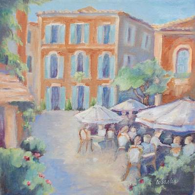 Cafe In Roussillon Print by Linda  Wissler