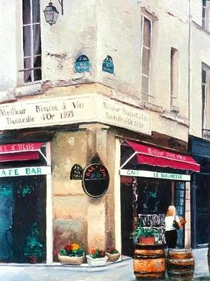 Corner Cafe Painting - Cafe Le Barometre In Paris by Jan Matson
