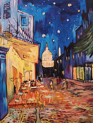 Washington Monument Painting - Cafe Terrace In D.c by Zachary Sasim