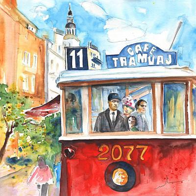 Praha Drawing - Cafe Tramvaj In Prague by Miki De Goodaboom