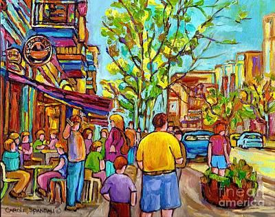 Cafes In Springtime Print by Carole Spandau